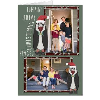 Cartão Fotos de salto do Natal de Jiminy - personalizadas