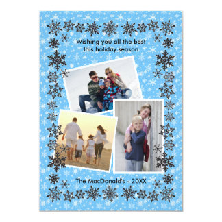 Cartão Fotos do azul 3 do quadro do floco de neve -