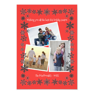 Cartão Fotos do vermelho 3 do quadro do floco de neve -