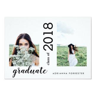 Cartão Fotos modernas minimalistas do formando dois