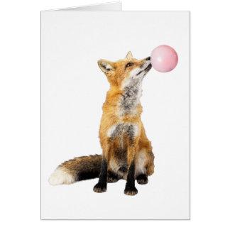 Cartão Fox com a bolha de sopro da pastilha elástica