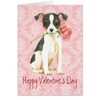 Cartão Fox cor-de-rosa Terrier do brinquedo dos namorados