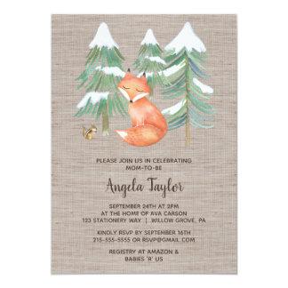 Cartão Fox da floresta do inverno e chá de fraldas do