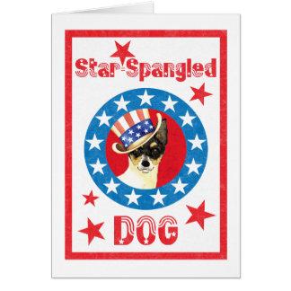 Cartão Fox patriótico Terrier do brinquedo