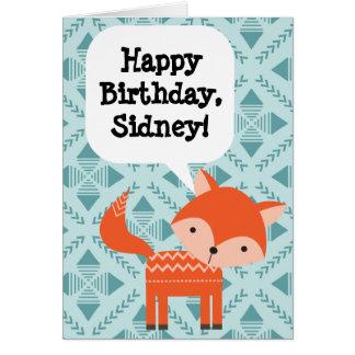 Cartão Fox vermelho do aniversário das crianças