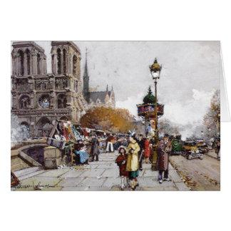 Cartão francês da feira da ladra da rua de Paris