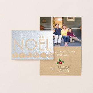 Cartão francês da folha da foto do Natal de Joyeux