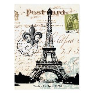 Cartão francês da torre Eiffel do vintage