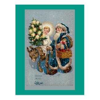 Cartão francês do cartão de Natal do vintage