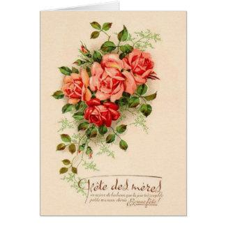 Cartão francês do dia das mães do vintage