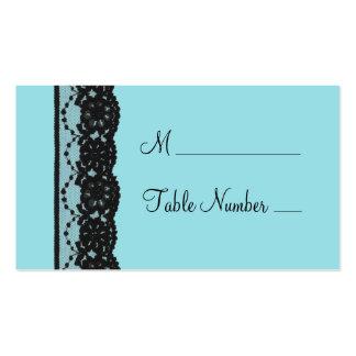 Cartão francês do lugar do laço (turquesa) cartoes de visitas