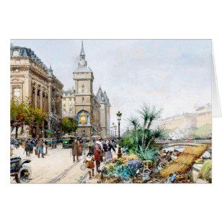 Cartão francês do mercado de rua da flor do