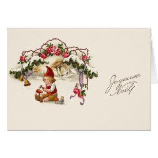 Cartão francês do Natal do vintage