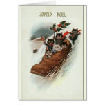 Cartão francês do Natal dos gatos do vintage