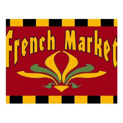 Cartão francês do sinal do mercado cartões postais
