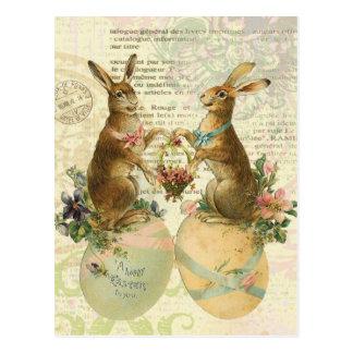 Cartão francês dos coelhinhos da Páscoa do vintage
