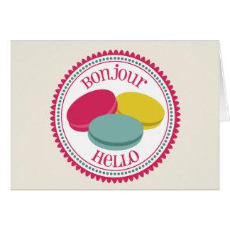 Cartão Francês Macarons Notecard - Bonjour olá!