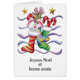 Cartão Francês - meia do Natal com coelho e presentes