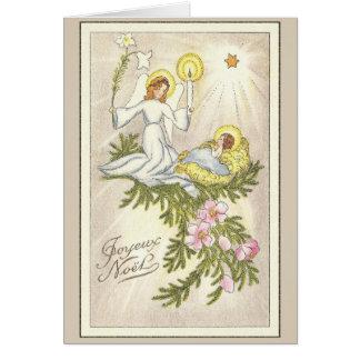 Cartão francês religioso do Natal do vintage
