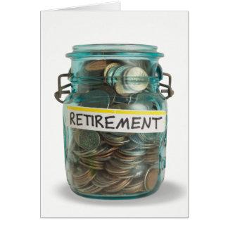 Cartão frasco das moedas para congrats da aposentadoria
