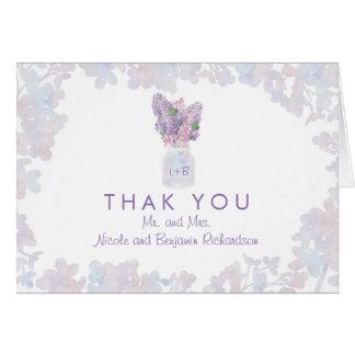 Cartão Frasco de pedreiro com o obrigado floral das