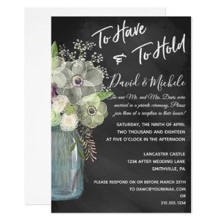 Cartão Frasco de pedreiro do quadro/após Wedding o