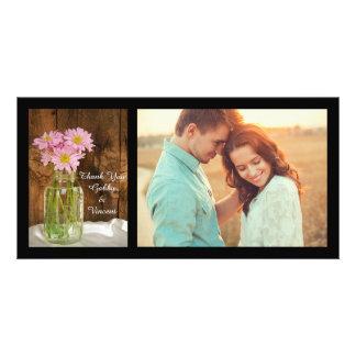 Cartão Frasco de pedreiro e obrigado cor-de-rosa do