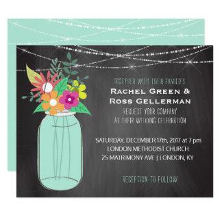Cartão Frasco de pedreiro rústico da hortelã do casamento
