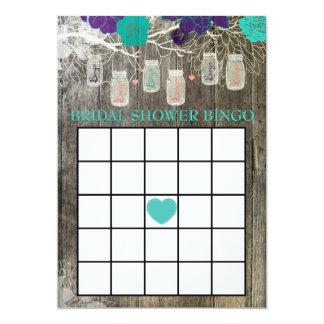 Cartão Frasco de pedreiro rústico do jogo do Bingo do chá