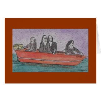 Cartão freiras em um barco