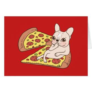 Cartão Frenchie de creme convida-o a seu partido da pizza