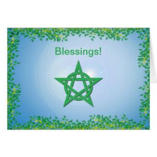 Cartão frondoso das bênçãos do noivado de Wiccan