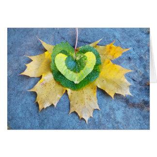 Cartão frondoso do coração