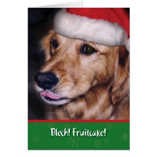 Cartão Fruitcake engraçado do Natal do retriever dourado