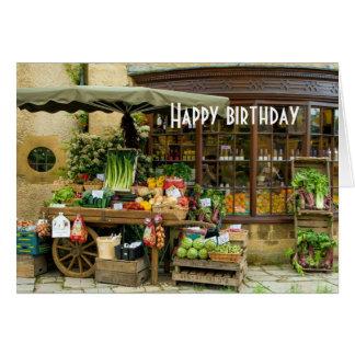 Cartão Fruta e loja inglesa colorida da vila de Veg