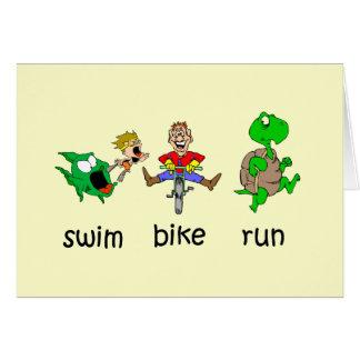 Cartão Funcionamento da bicicleta da natação