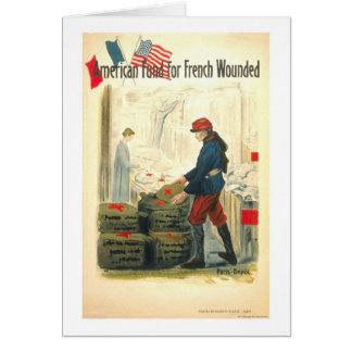 Cartão Fundo americano para o francês ferido
