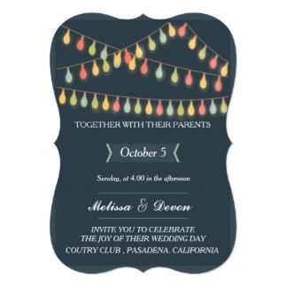 Cartão fundo do casamento com as festões de luzes