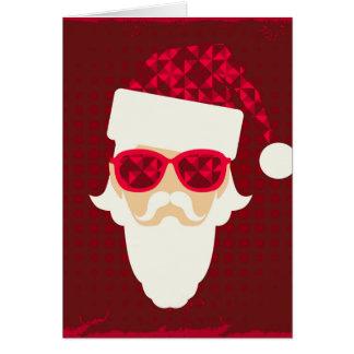 Cartão Fundo do Feliz Natal com hipster do papai noel