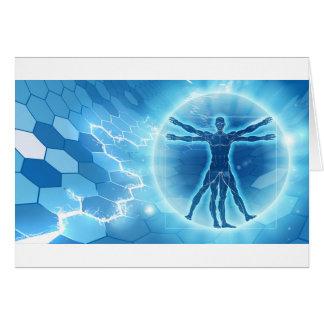 Cartão Fundo do hexágono do homem de Vitruvian