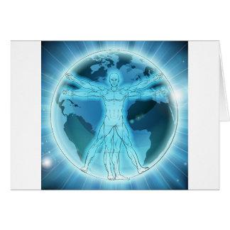 Cartão Fundo do mundo do globo da terra do homem de
