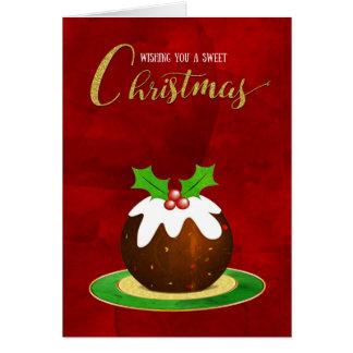 Cartão Fundo doce do vermelho do Natal do pudim do Natal
