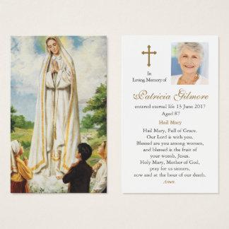 Cartão fúnebre   da oração nossa senhora de Fatima