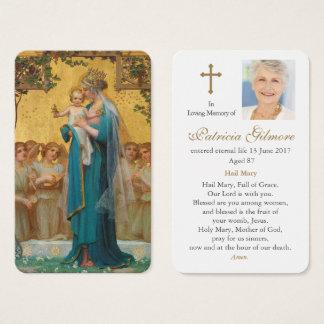 Cartão fúnebre | Madonna da oração & criança