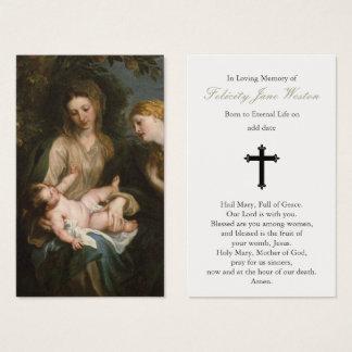 Cartão fúnebre Madonna da oração & criança & rua