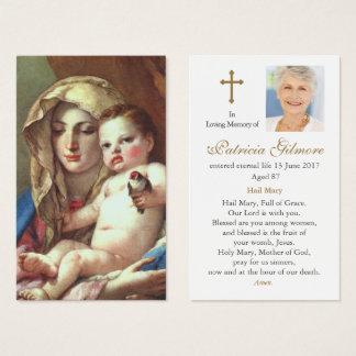 Cartão fúnebre | Madonna da oração do Goldfinch
