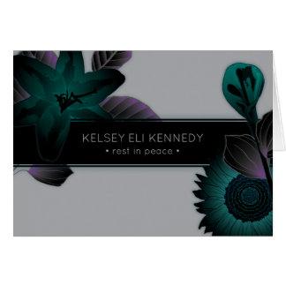 Cartão funeral elegante floral do vintage
