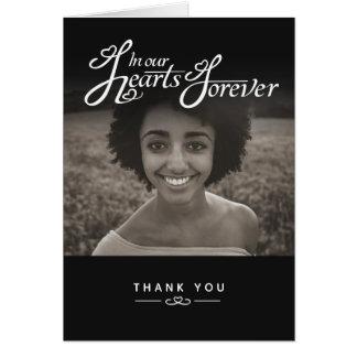 Cartão Funeral em nosso obrigado do preto dos corações