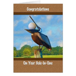 Cartão Furo--um Em parabéns, golfe