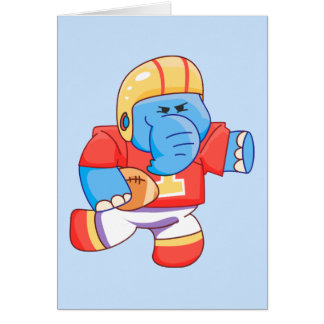 Cartão Futebol azul do elefante de Lil